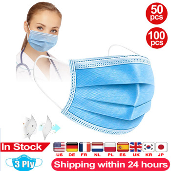100pcs Face Masks Disposable 3 Layers Mouth Mask Non-woven Masks Mascarillas Masque Earloop Masks
