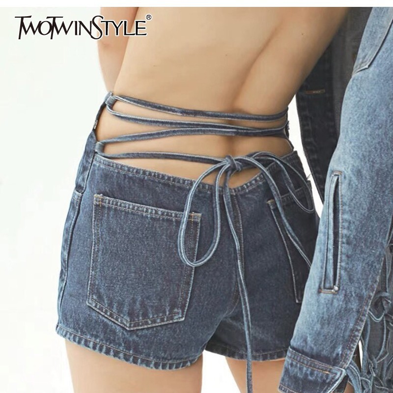 TWOTWINSTYLE Bowknot Denim Lace Up Women's Shorts High Waist Pocket Female Short Pants Female Streetwear Spring Fashion New 2020