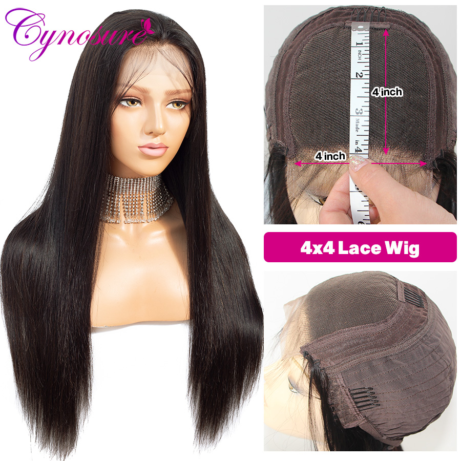 He84e0ae9125d4403916919d7b12b4bbaJ Cynosure 4x4 Straight Lace Closure Wig Brazilian Lace Closure Human Hair Wigs Pre-Plucked with Baby Hair Remy