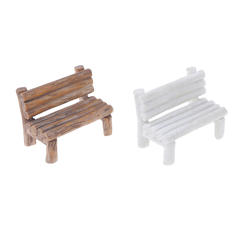 Mini Resin Wooden Bench Fairy Doll Chairs Dollhouse Furniture Toys Figurines Garden Miniature Micro Landscape Decoration