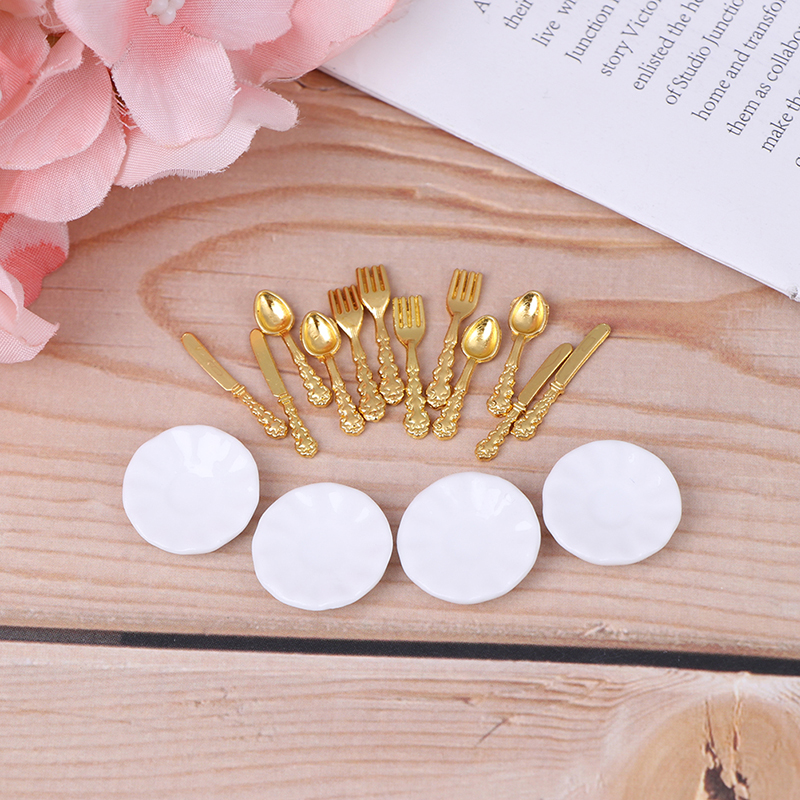 New 1:12 Ceramic Plate Knife Fork Spoon Tableware Simulation Kitchen Food Furniture Toys Dollhouse Miniature Accessories 12PCS
