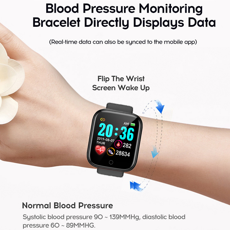 Y68 D20 Smart Watch Waterproof Bluetooth Blood Pressure Fitness Tracker Heart Rate Monitor Smartwatch For Apple IOS Android 2