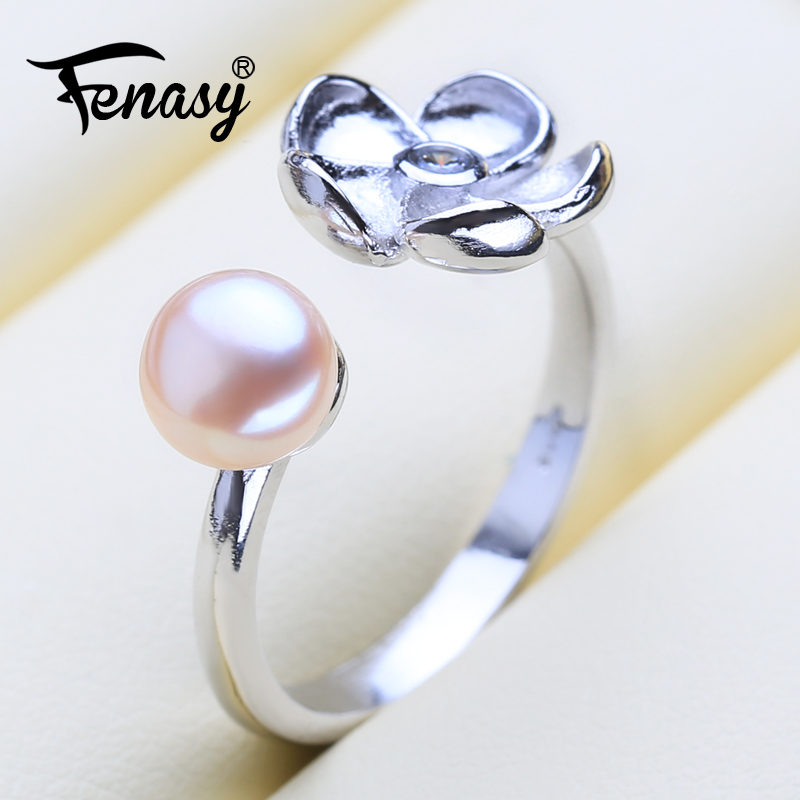FENASY Ring Pearl Adjustable Natural New-Fashion Women Silver For Gift Square Freshwater