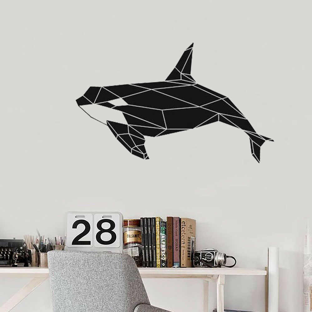 Geometric Killer Whale Orca Wall Decal Sea Animal Art Vinyl Stickers Office Classrooms Kids Bedroom Bathroom Home Decor S850 Wall Stickers Aliexpress