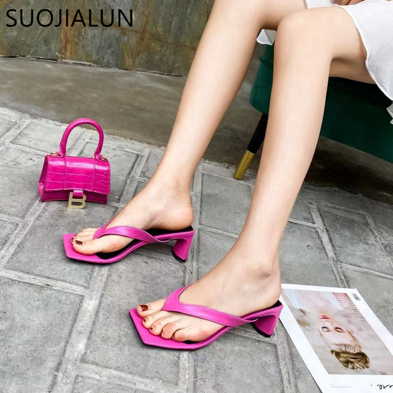 SUOJIALUN Square Heel Women Flip Flop 2020 New Summer Beach Ladies Slipper Bohemian Female Sandal Med Heel Slip On Slides