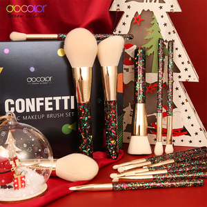 Image 5 - Docolor 14Pcs Christmas Makeup Brushes Professional Powder Foundation Eyeshadow Make up Brushes Set Synthetic Hair Cosmetic Tool
