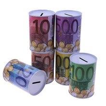 1 pçs criativo folha de flandres cilindro mealheiro euro dólar caixa de imagem caixa de poupança de dinheiro casa decoração caixas de dinheiro