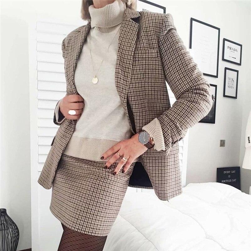 Elegant Plaid Mini Skirt Faldas Mujer Back Zipper Office Wear Female Casual Stylish 2020 Spring A Line Skirts