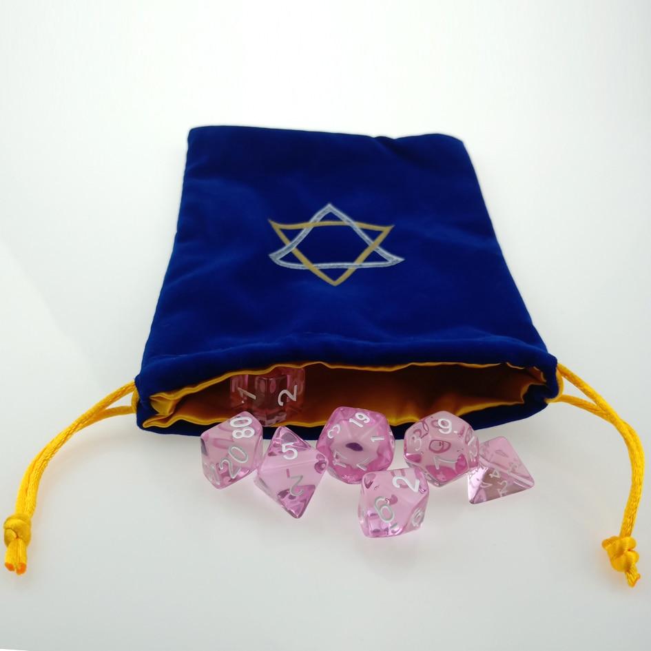Rollooo Custom Dice Bag With Translucent Pink RPG Dice Set D4 D6 D8 D10 D% D12 And D20