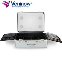 Veninow portable small aluminum travel makeup case Studio Beauty Train Cosmetic Led Make Up Case With Light Mirror