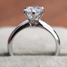 كلاسيكي 925 فضة مويسانيتي خاتم بسيط نمط 1ct قيراط IJ اللون مجوهرات خاتم للذكرى