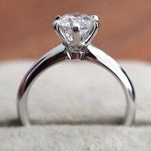 קלאסי 925 כסף סטרלינג Moissanite טבעת פשוט סגנון 1ct קרט IJ צבע תכשיטי יום נישואים טבעת