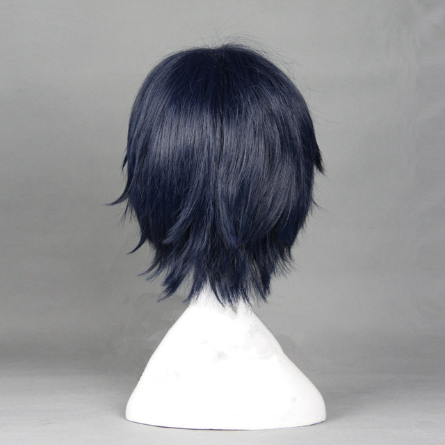Seraph de la fin Guren Ichinose 30cm courte droite bleu marine Cosplay perruque haute qualité résistant à la chaleur perruques synthétiques + capuchon de perruque
