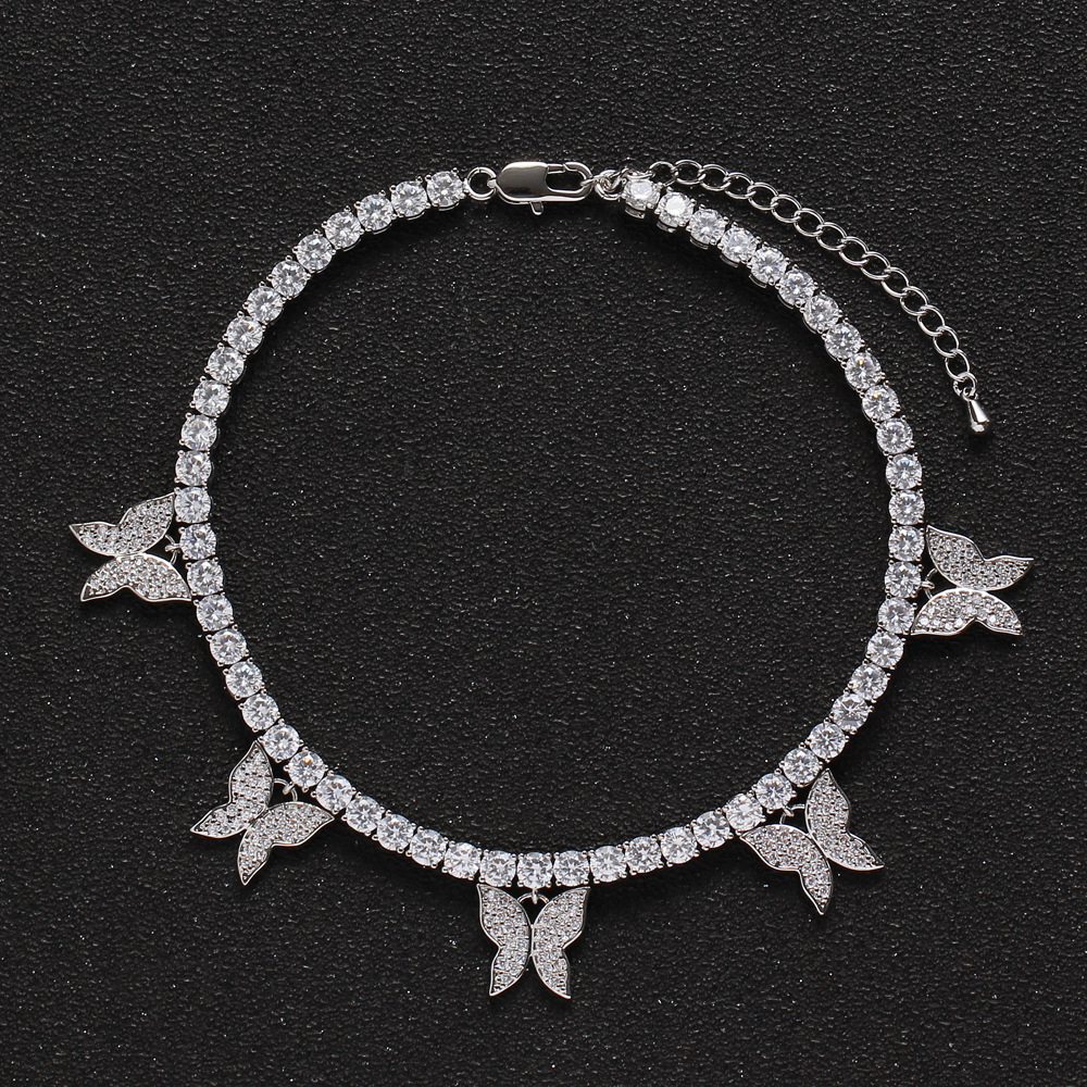 Women Iced Out Ankle Bracelets Butterfly Charm 4mm Cubic Zirconia Tennis Chain Anklet Gift for Girl Beach Hip Hop Feet Jewelry