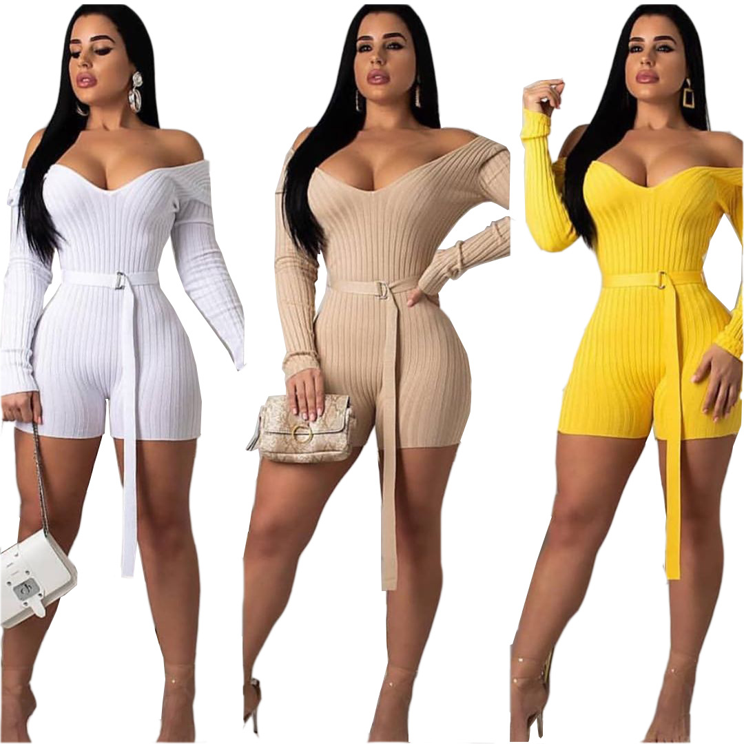 <font><b>Sexy</b></font> Bodycon Women Playsuit <font><b>Festival</b></font> Clothes Autumn Long Sleeve Belted Streetwear One Piece Outfits Club Party Jumpsuits image