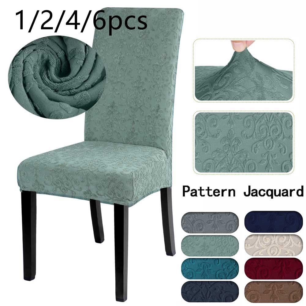 1/2/4/6 pçs capa de cadeira jacquard elastano jantar cadeiras capa de cadeira poltrona grosso tecido estiramento assento capa