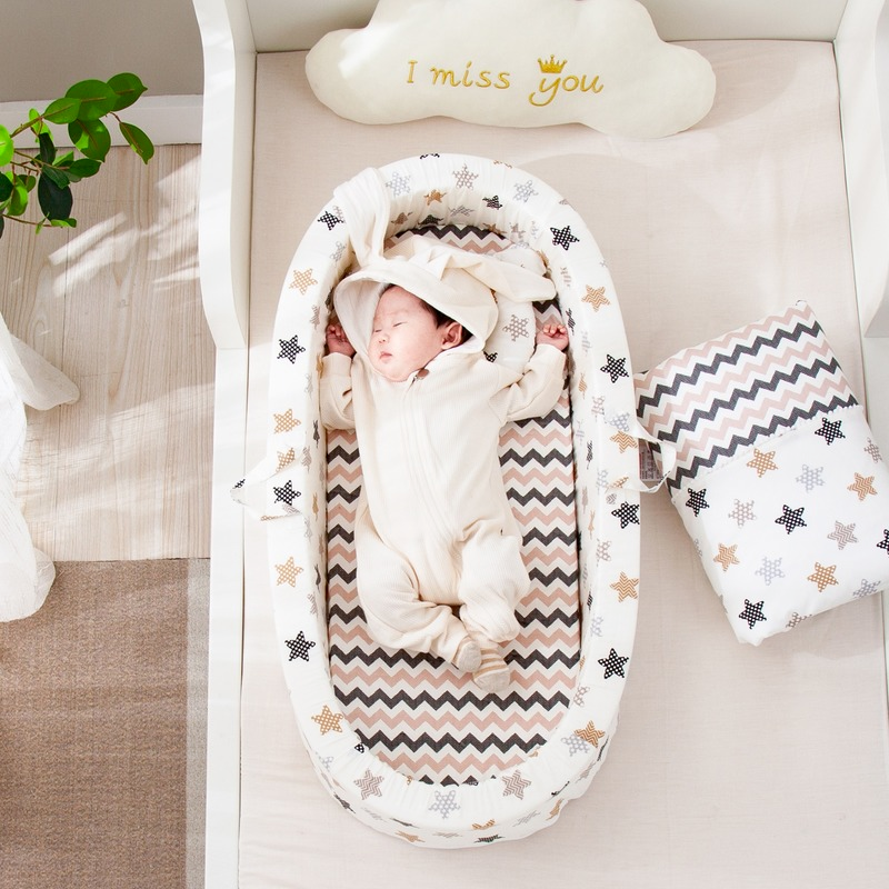 Cradle Portable Crib Baby Anti-pressure Bed Middle Bed Newborn Travel Bed Diaper Changing Crib Baby room decoration 2021