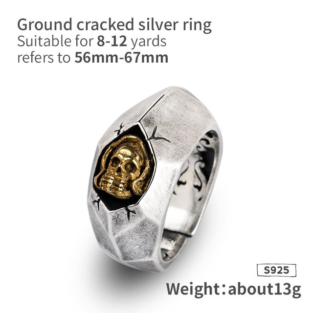 ORIGINAL 925 SILVER CRACK SKULL RINGS