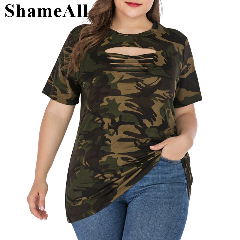 T-Shirts Tops Short-Sleeve Lace-Up Ripped Summer Streetwear Plus-Size Camouflage 3XL