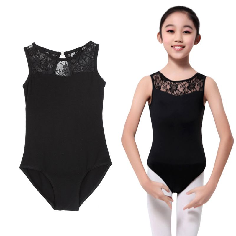 Girls Kids Lycra Lace Bodysuit Dance Leotard Open Back Ballet Stretch Bodysuit Dancewear