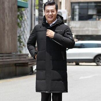 Men's Winter Hooded Long Down Jacket Hoodie Outerwear Parka Coat Thick Warn Menswear Mature Male Down Overcoat Fathers JK-831