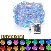 Corda led com controle remoto, 16 cores, usb, 5v, 5m/10m, para natal, para áreas externas para decoração de casamento, festa de natal