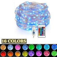 Fernbedienung Fee Led String Lichter 16 Farben USB 5V 5 m/10 m Weihnachten Girlande Outdoor licht für Hochzeit Weihnachten Party Dekoration