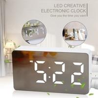 LED مرآة صغيرة منبه رقمي ساعة الجدول الإلكترونية الوقت درجة الحرارة تاريخ عرض ساعة ديكور المنزل ساعة رقمية