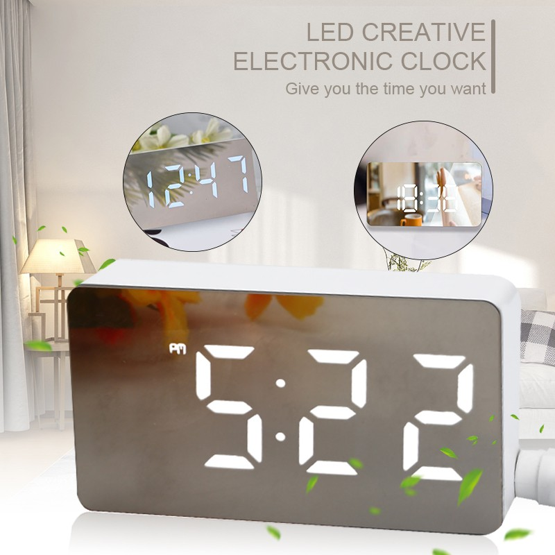 LED Mirror Mini Digital Alarm Clock Table Electronic Time Temperature Date Display Clock Home Decoration Digital Clock