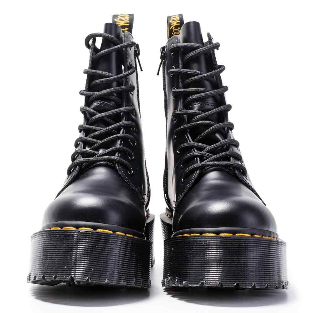 עבה העקב נשים מרטין מגפי קרסול נעלי עור אמיתי מגפי שרירים פרה בלעדי תחרה עד פלטפורמת אתחול גבירותיי zy8472