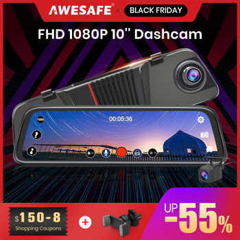AWESAFE New FHD 1080P Dash Cam Car DVR Camera Stream RearView Mirror 10\'\' IPS 2.5D Drive Video Auto Recorder Night Vision - Category 🛒 Automobiles & Motorcycles