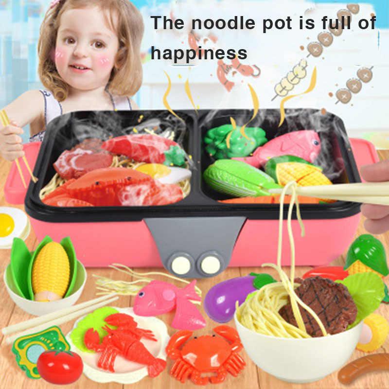 37 PCS 2-In-1 Pretend Play ของเล่นร้อนหม้อบาร์บีคิว Playset เล่นอาหารเด็กของเล่นพร้อมเด็กครัวทำอาหารชุดของเล่น