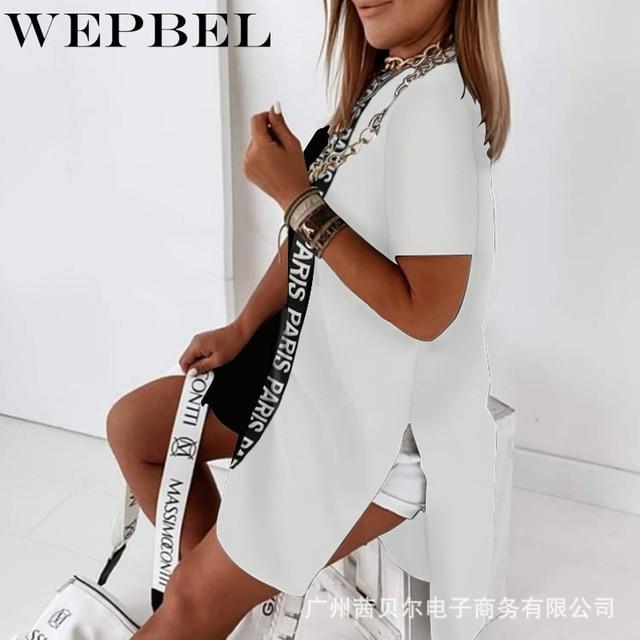 WEPBEL Women Casual Loose Letter Print Shirt Dress Ladies Plus Size Short Sleeve O Neck Mini Dress 4