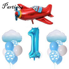 17pcs 12 Blue White Cloud Balloons Airplane Boy Baby shower 40 Number Balloon Kids Birthday Decor Party Supplies Air Globos