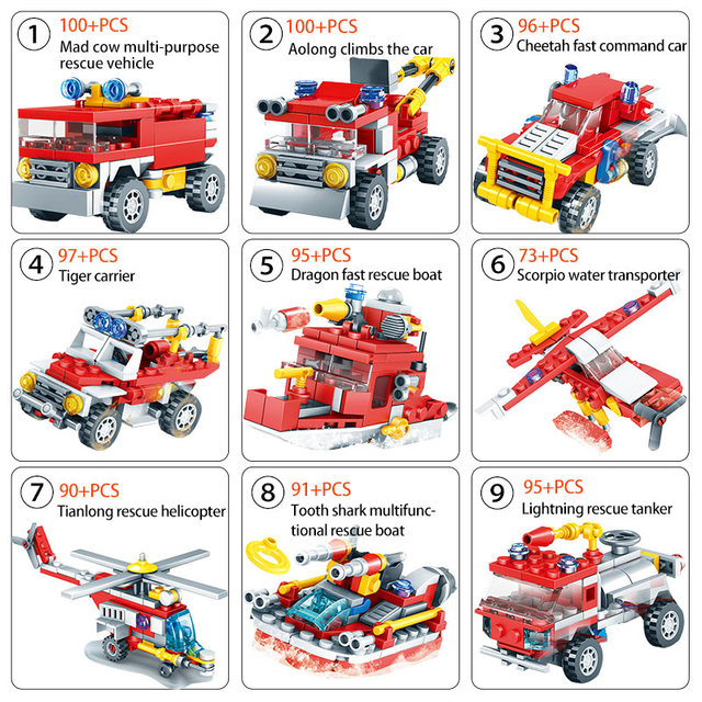837pcs City Firefighter Figure Building Blocks For  Fire Fighting Truck Car Bricks Helicopter Boat Toy For Children