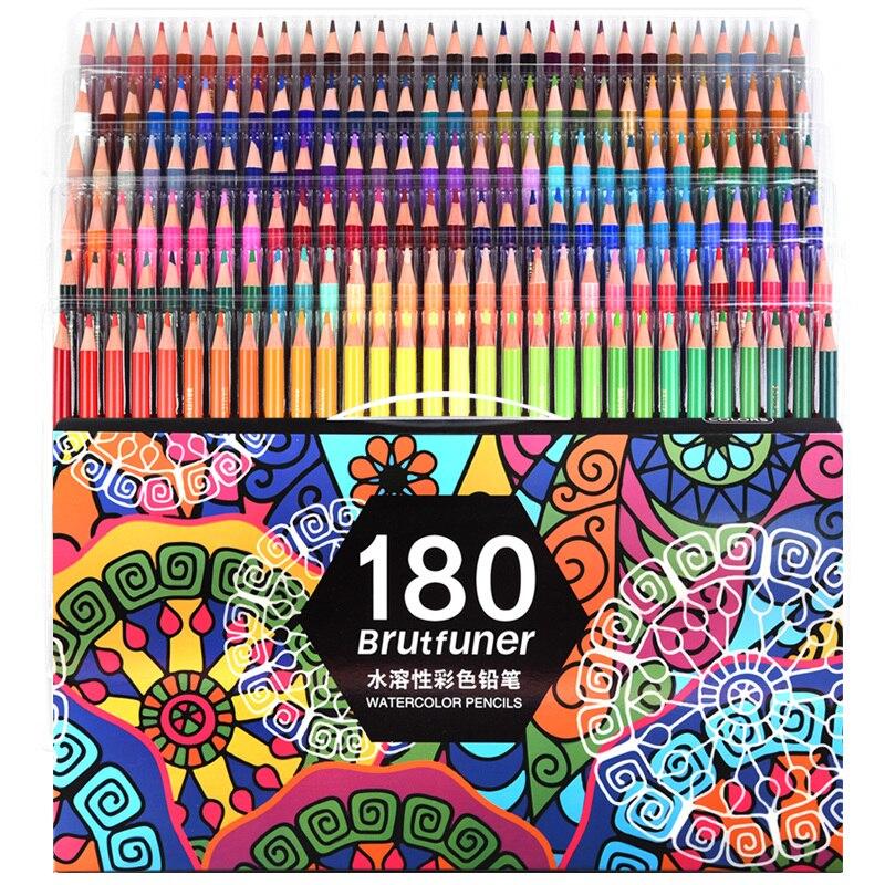 Разноцветный 180 Цвет s Профессиональная водная Цвет карандаши набор художника живопись наброски древесина мягкая ручная Цвет карандаш школ...