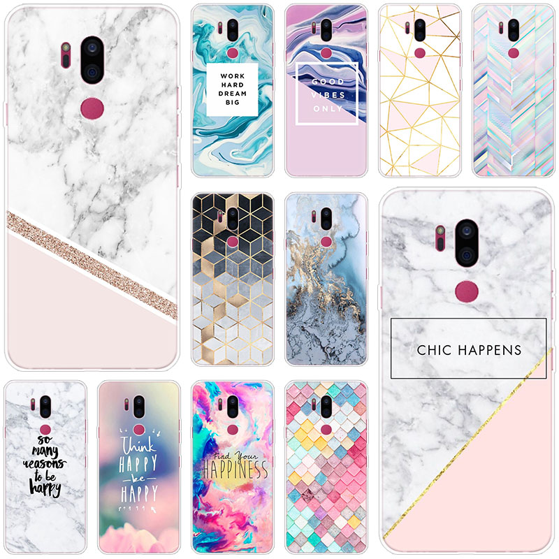 Chic Pink Marble Pretty Soft Case For LG G5 G6 Mini G7 G8 G8S V20 V30 V40 V50 Thinq Q6 Q7 Q8 Q9 Q60 W10 W30 Aristo 2 X Power 2 3