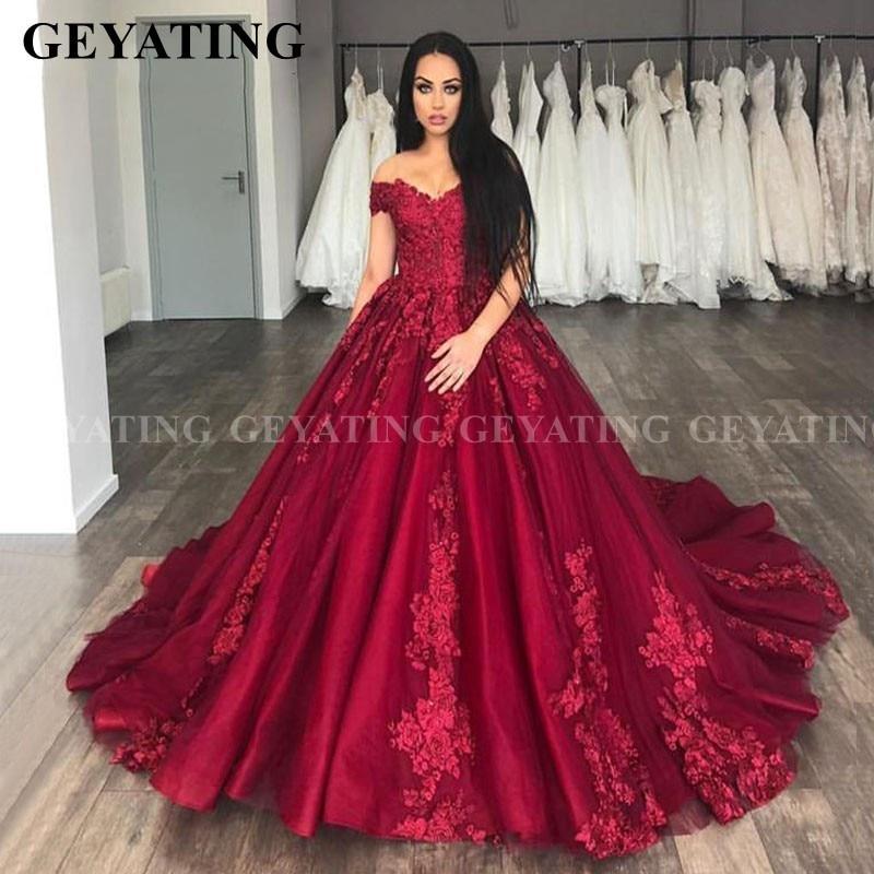 Saudi Arabia Burgundy 3D Flower Wedding Dress Ball Gown Off The Shoulder Princess Dubai Bridal Gowns Wine Red Robe De Mariage