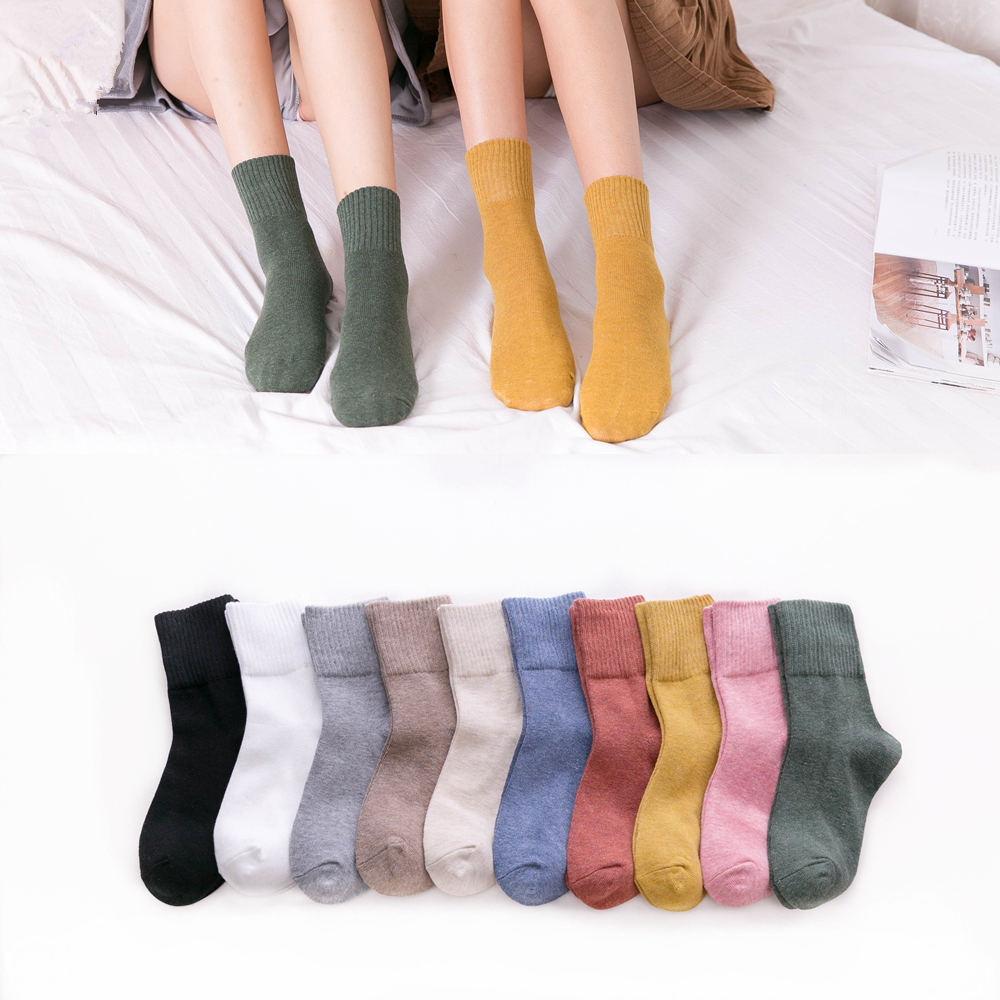 Solid Colors Women 100% Cotton Socks High Quality Autumn Winter Rib Top Paddy Daily Basic Colorful Soft Socks Lady