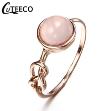 Cuteeco Dainty Round Fire Opal Rings for Women Rose Gold CZ Engagement in Copper Promise Ring Dropshipping 2019 Hots