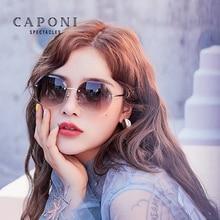 CAPONI Vintage Rimlessแว่นตากันแดดผู้หญิง2020แว่นตากันแดดรอบใหม่เพชรตัดเลนส์Gradient ShadesสำหรับหญิงCP2107