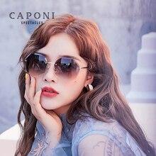 Caponi vintage sem aro óculos de sol das mulheres 2020 novo redondo retro óculos de sol diamante lente corte gradiente tons para o sexo feminino cp2107