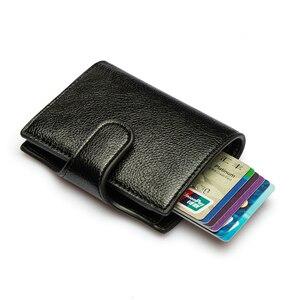 Image 5 - BISI גורו 2020 מיני ארנק נגד גניבת כרטיס מחזיק חכם Slim RFID גבירותיי כרטיס יוניסקס בציר מוצק כסף תיק Dropshipping