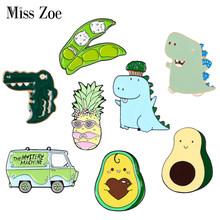 Groene Lente Emaille Pin Custom Cartoon Avocado Erwt Ananas Dinosaurus Bus Broches Tas Revers Pin Fun Badge Sieraden Gift Kids(China)
