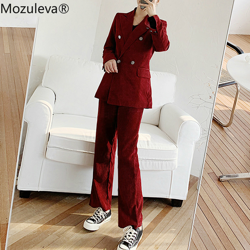 Mozuleva Two Pieces Ladies Outfits Vintage Chic Double-breasted Women Corduroy Blazers & Female Trousers High Waist Suit Pants