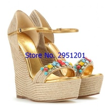 Super High Women Summer Wedge Sandals Female Platform Fashion High Heel Sandals Ankle Beaded Strap Open Toe Ladies Shoes Size 43 women sandals wedge platform sandals summer slip on ladies high heels shoes fashion open toe casual female footwear 2020