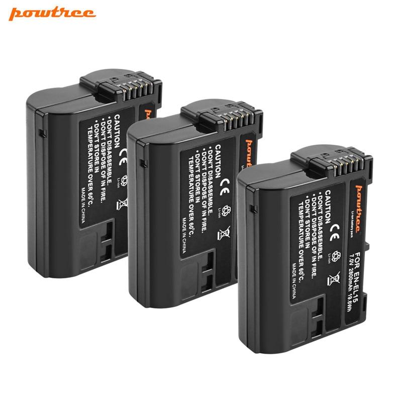 Powtree 2800mAh EN-EL15 ENEL15 EN EL15 Batterie Pour Appareil Photo REFLEX NUMÉRIQUE Nikon D600 D610 D800 D800E D810 D7000 D7100 D7200 EN L15