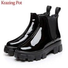 Женские Классические ботинки челси Krazing Pot, черные классические зимние ботильоны из натуральной кожи с круглым носком и толстой подошвой, L18