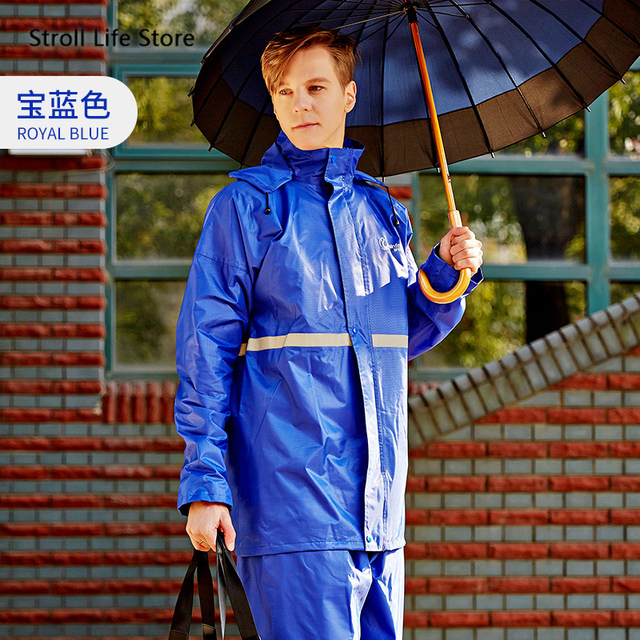 Adult Raincoat Set Men and Women  Motorcycle Electric Car Red Blue Rain Coat Poncho Jacket Double-Layer Nylon Waterproof Gift 5