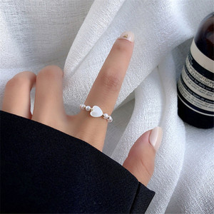 Fashion Pearl Contracted Heart Bungee Cord Ring Lady Design Joint Rings for Women Party Jewelry